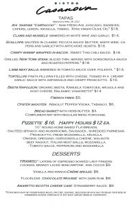 Bistro Tapas Menu April 28, 2021